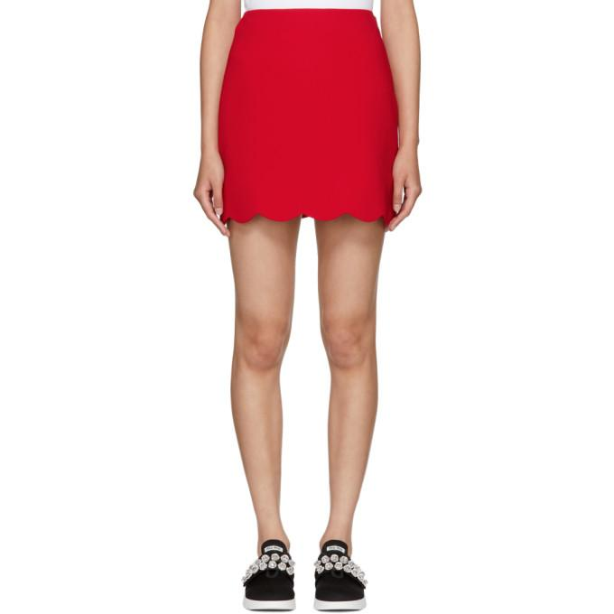 Miu Miu Red Cady Scalloped Hem Miniskirt-BLACKSKINNY.COM
