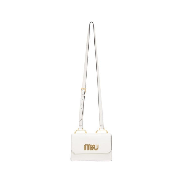 Miu Miu White Small Logo Crossbody Bag-Bags-BLACKSKINNY.COM