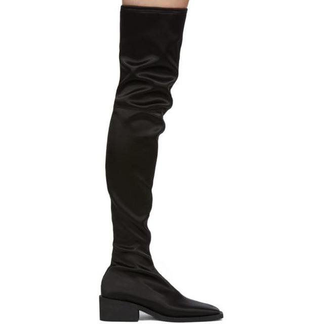 MM6 Maison Margiela Black Satin Over-The-Knee Boots