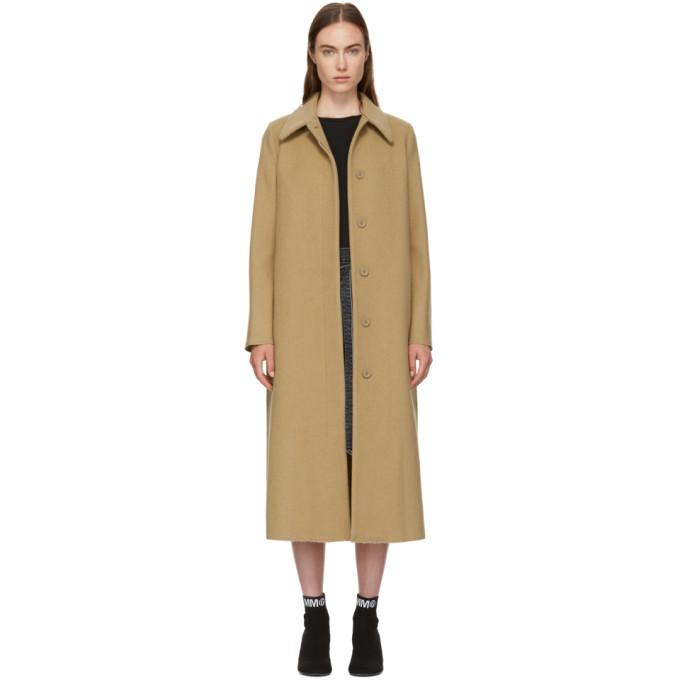 MM6 Maison Martin Margiela Beige Long Felted Wool Coat-Jackets & Coats-BLACKSKINNY.COM