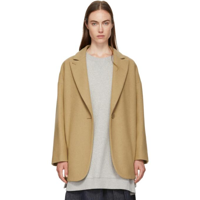 MM6 Maison Martin Margiela Beige Wool Coat-Jackets & Coats-BLACKSKINNY.COM