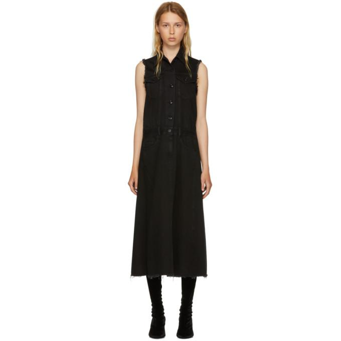MM6 Maison Martin Margiela Black Just Wash Sleeveless Denim Dress-BLACKSKINNY.COM