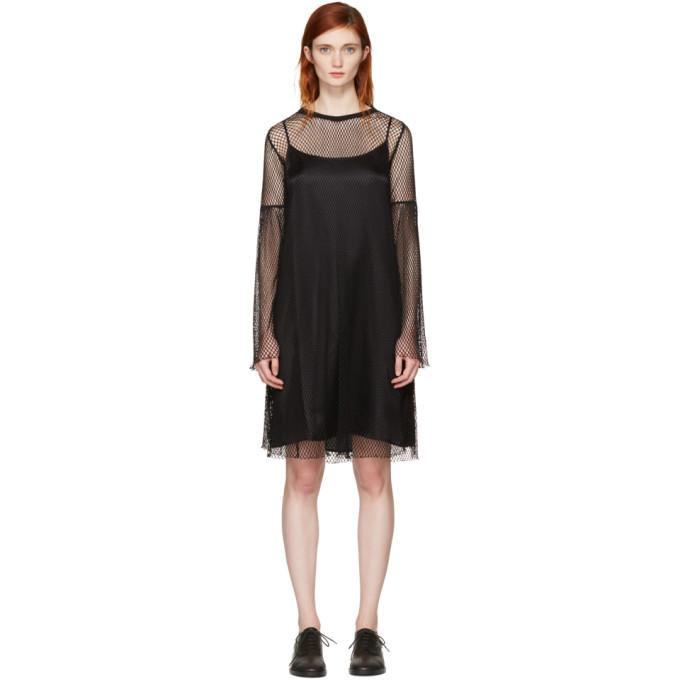 MM6 Maison Martin Margiela Black Mesh Dress-BLACKSKINNY.COM