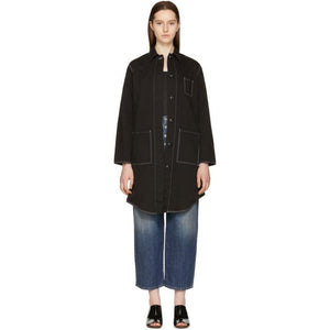 MM6 Maison Martin Margiela Black Oversized Coat-Jackets & Coats-BLACKSKINNY.COM