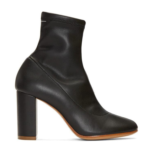 MM6 Maison Martin Margiela Black Pump-Sock Ankle Boots-BLACKSKINNY.COM