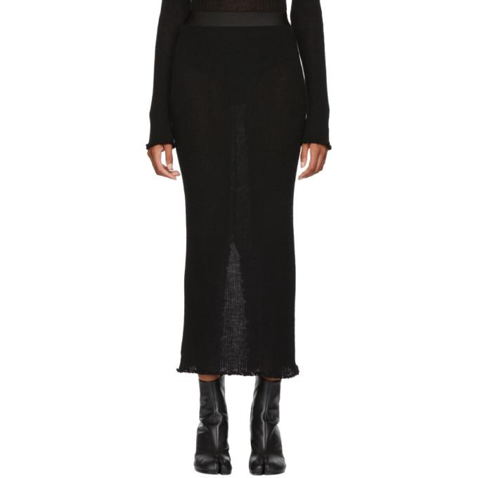 MM6 Maison Martin Margiela Black Ribbed Jersey Skirt-BLACKSKINNY.COM