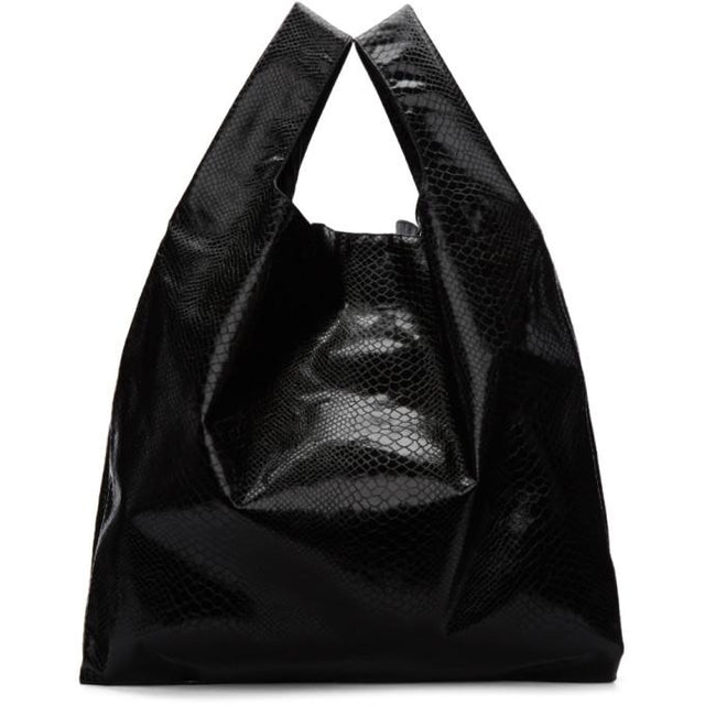 MM6 Maison Martin Margiela Black Snake Shopping Tote-Bags-BLACKSKINNY.COM