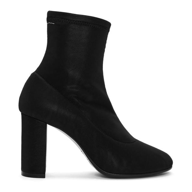 MM6 Maison Martin Margiela Black Square Heel Sock Boots-BLACKSKINNY.COM