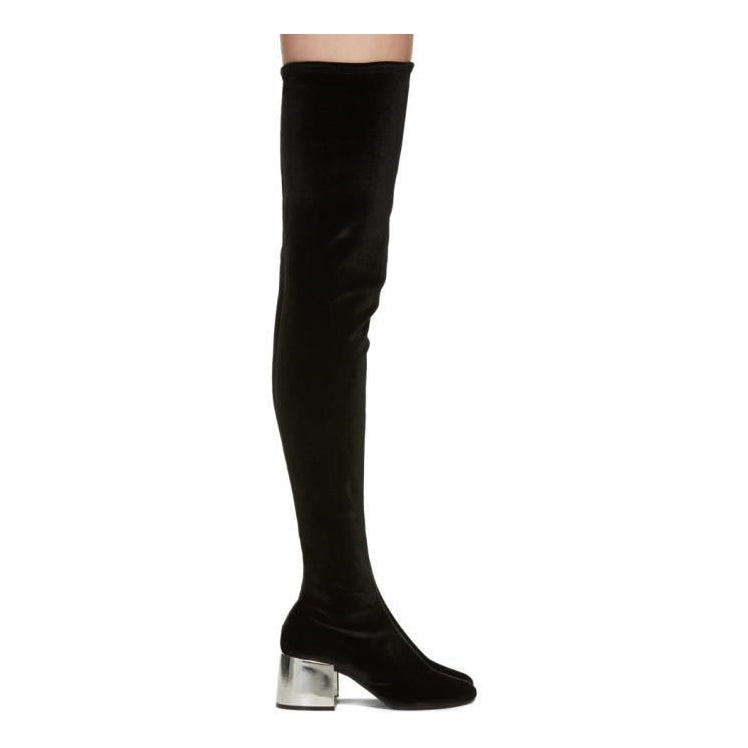 MM6 Maison Martin Margiela Black Velvet Over-The-Knee Boots-BLACKSKINNY.COM
