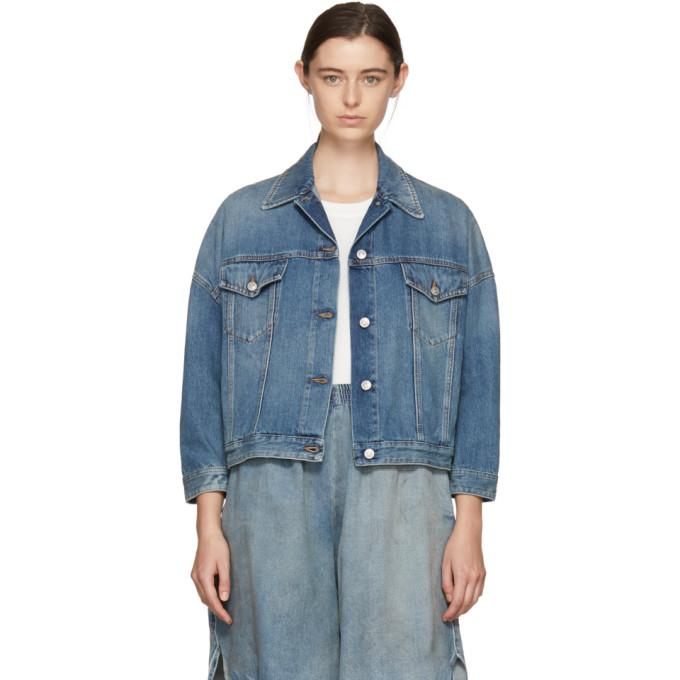 MM6 Maison Martin Margiela Blue Oversized Jacket-Jackets & Coats-BLACKSKINNY.COM