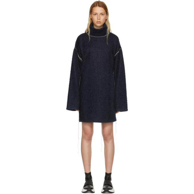 MM6 Maison Martin Margiela Blue Sparkling Knit Jersey Oversized Dress-BLACKSKINNY.COM