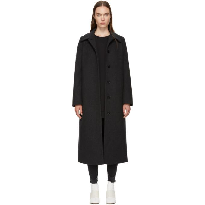 MM6 Maison Martin Margiela Grey Long Wool Coat-Jackets & Coats-BLACKSKINNY.COM