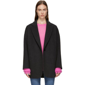 MM6 Maison Martin Margiela Grey Wool Coat-Jackets & Coats-BLACKSKINNY.COM