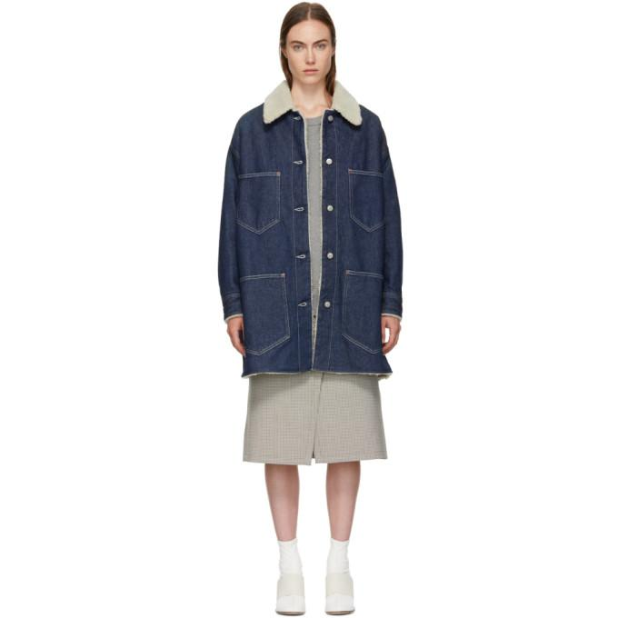 MM6 Maison Martin Margiela Indigo Garage Wash Denim Jacket-Jackets & Coats-BLACKSKINNY.COM