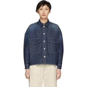 MM6 Maison Martin Margiela Indigo Garage Wash Denim Shirt Jacket-Jackets & Coats-BLACKSKINNY.COM