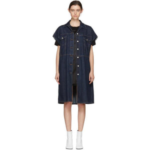 MM6 Maison Martin Margiela Indigo Long Denim Jacket-Jackets & Coats-BLACKSKINNY.COM