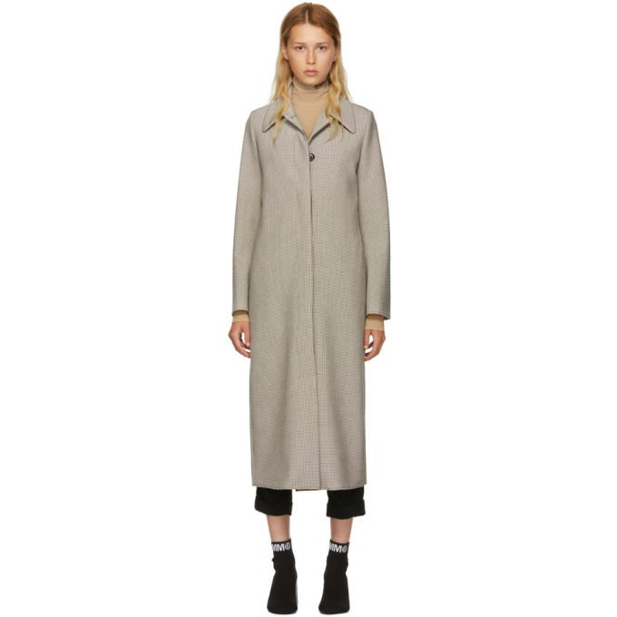 MM6 Maison Martin Margiela Multicolor Check Long Bonded Jersey Coat-Jackets & Coats-BLACKSKINNY.COM