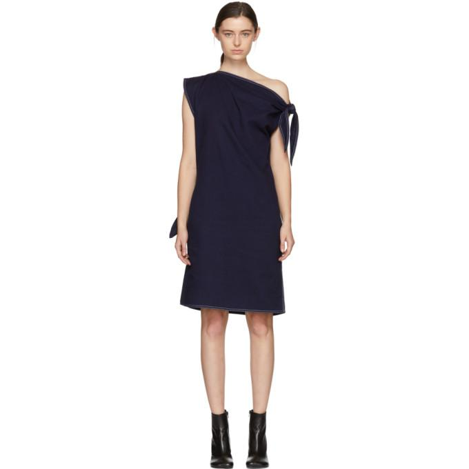 MM6 Maison Martin Margiela Navy Asymmetric Raw Denim Dress-BLACKSKINNY.COM