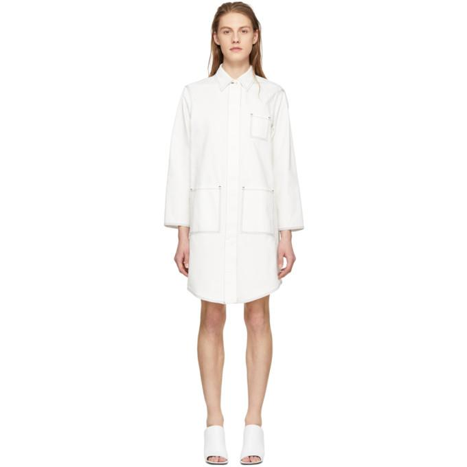 MM6 Maison Martin Margiela Off-White Oversized Button-Up Coat-Jackets & Coats-BLACKSKINNY.COM