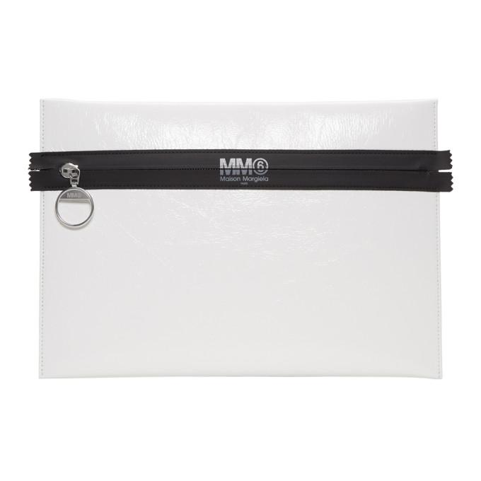 MM6 Maison Martin Margiela White Laminated Zip Pouch-Bags-BLACKSKINNY.COM