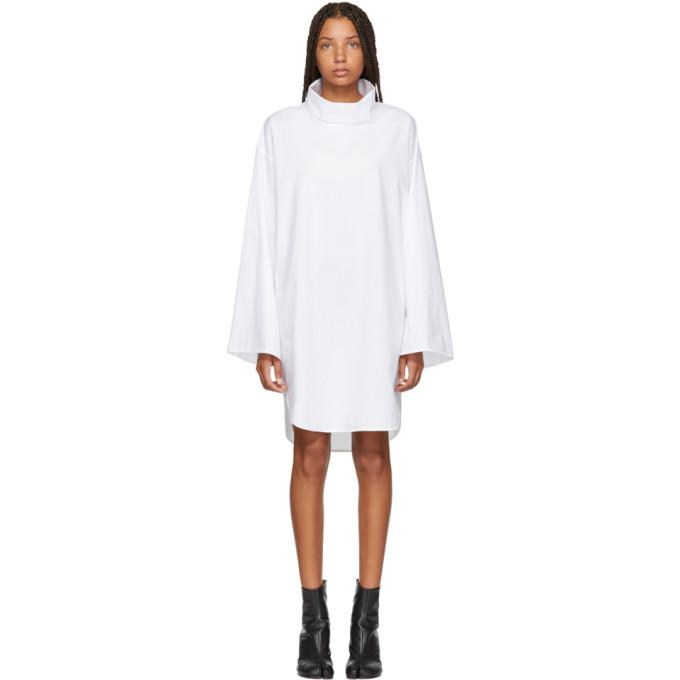 MM6 Maison Martin Margiela White Turtleneck Dress-BLACKSKINNY.COM