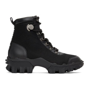 Moncler Black Mesh and Leather Helis Boots