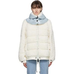 Moncler Grenoble White Down Fleece Puffer Jacket