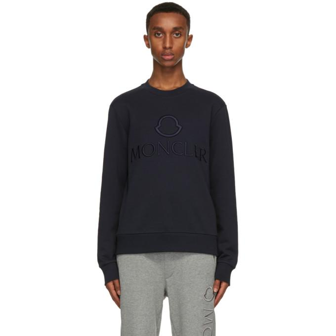 Moncler Navy Embroidered Logo Sweatshirt