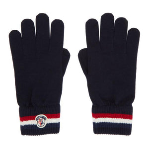 Moncler Navy Wool Stripe Gloves
