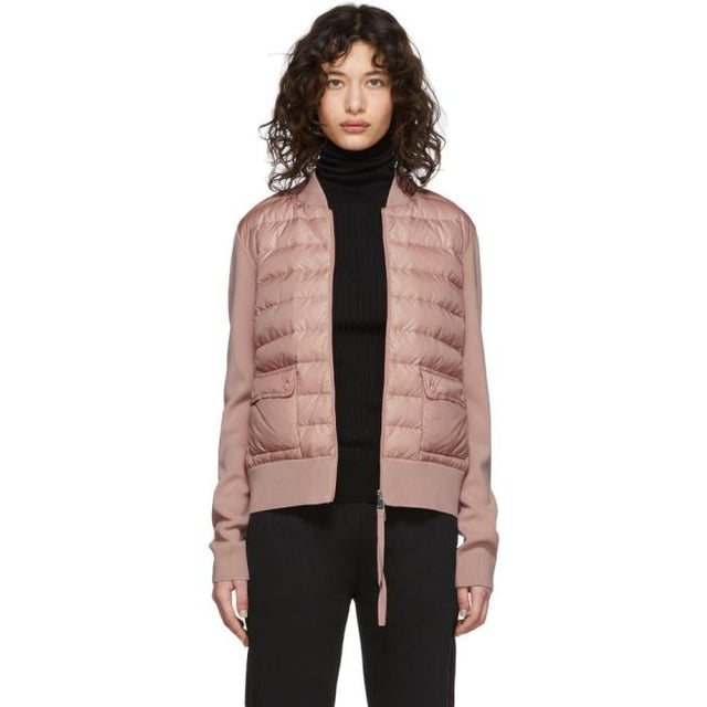 Moncler Pink Down Knit Combo Jacket