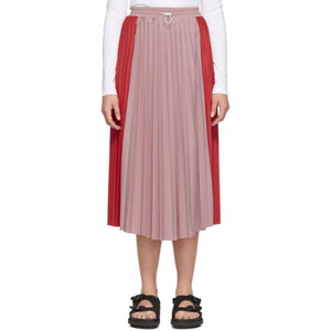 Moncler Red and Pink Bicolor Pleated Skirt