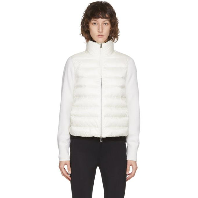 Moncler White Down Paneled Jacket