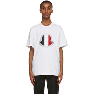 Moncler White Large Logo T-Shirt