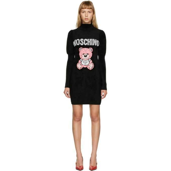Moschino Black Embroidered Teddy Short Dress