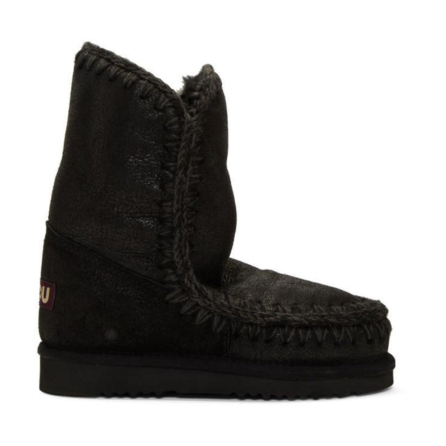 Mou Black Cracked Eskimo 24 Boots-BLACKSKINNY.COM