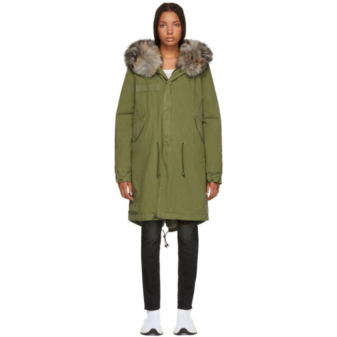 Mr & Mrs Italy Green Long Fur-Lined Parka-BlackSkinny
