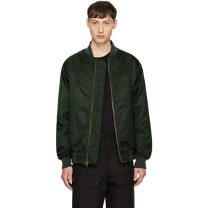 Mr & Mrs Italy Green Nylon New York Bomber Jacket-BlackSkinny