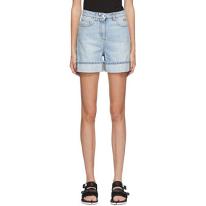 MSGM Blue Denim Rolled Cuffs Shorts