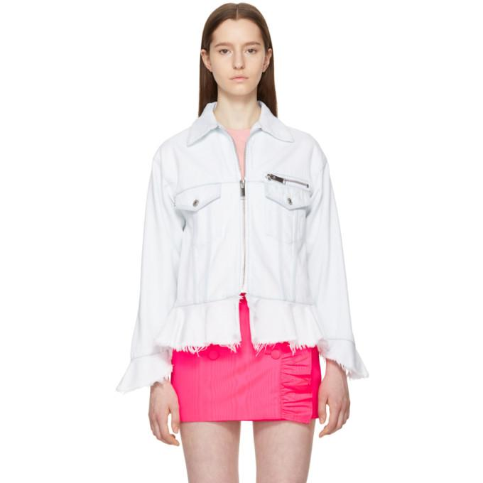 MSGM Blue Ruffled Denim Jacket-BlackSkinny