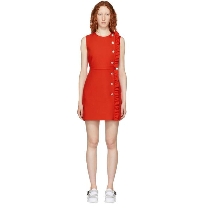 MSGM Red Ruffle Dress-BLACKSKINNY.COM