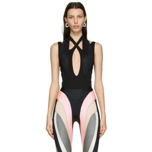 Mugler Black Crossover Bodysuit