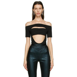 Mugler Black Off Shoulder Segmented Bodysuit