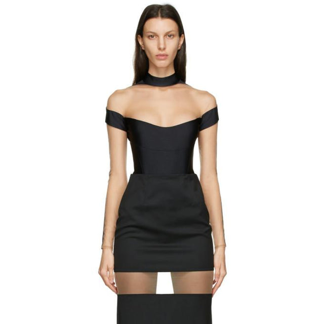Mugler Black Segmented Long Sleeve Bodysuit