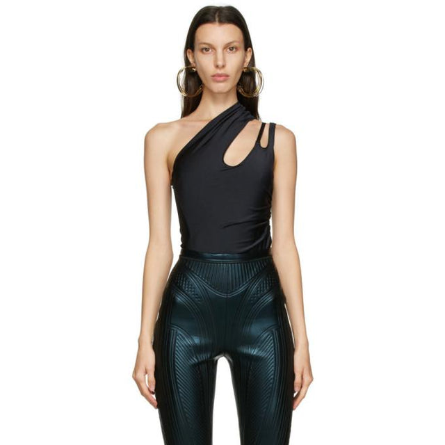 Mugler Black Single Shoulder Bodysuit
