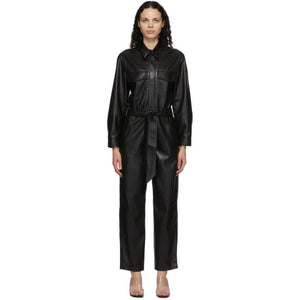 Nanushka Black Vegan Leather Jumpsuit