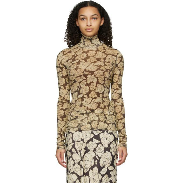Nanushka Brown and Beige Herri Turtleneck