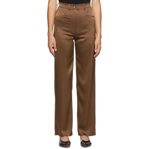 Nanushka Brown Satin Drew Trousers