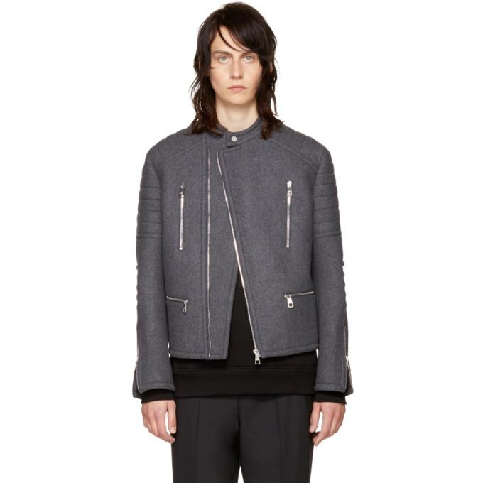 Neil Barrett Grey Authentic Biker Jacket-BlackSkinny