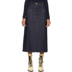 Nina Ricci Blue Denim Skirt-BLACKSKINNY.COM
