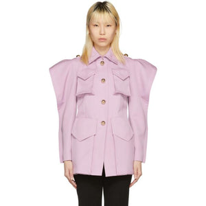Nina Ricci Purple Twill Coat-Jackets & Coats-BLACKSKINNY.COM